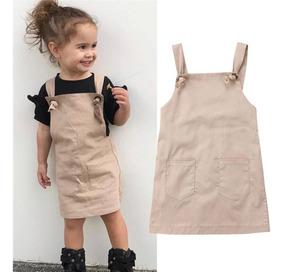 Vestido Jardineira Infantil Confortável Tamanho 3 E 4