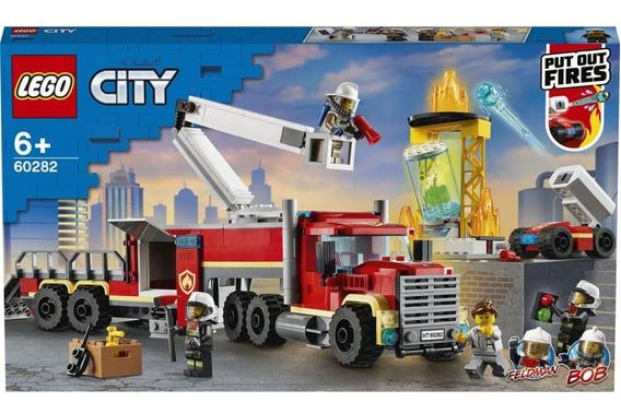 Lego City Unidade De Controle De Incêndios Bombeiros 60282