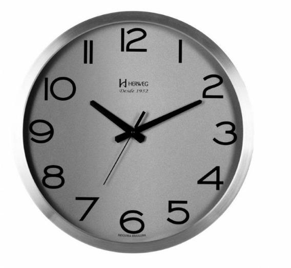 Relógio De Parede Herweg 6717 - 40 Cm Alumínio Escovado