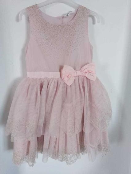 Vestido Color Palo De Rosa/ 6 A 7 Años/ Marca H&m
