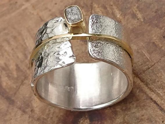 Anel De Prata, Ouro18k. Diamante Bruto Cravação Ouro 18k.