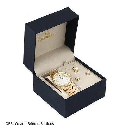 Relógio Champion Feminino Cn29365b + Kit Bijuteria
