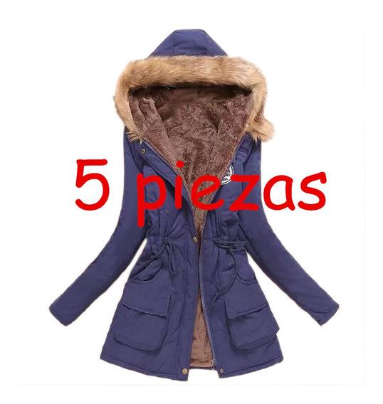 5 Pcs Abrigo Mujer Con Capucha Botón De Cremallera Invierno