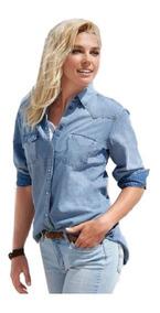 Camisa Jeans Feminina Degrade Social Manga Longa Blogueiras
