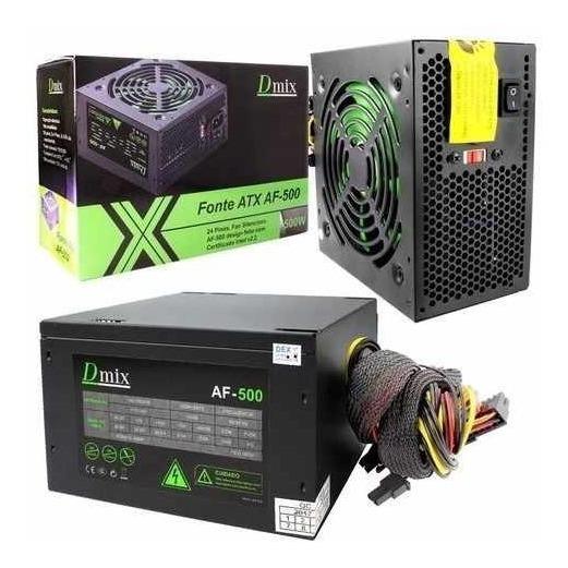 Fonte Atx 500w Real Cooler De 12cm C/ Cabo Af-500
