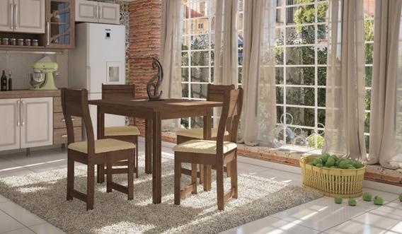 Compacta E Elegante Mesa Dallas 4 Cadeiras Ótimo Preço