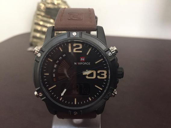 Relógio Masculino Pulso Naviforce Luxo Pulseira Couro K3187