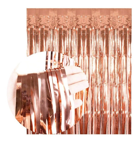 Cortina Rosa Gold Metalizada Lluvia Fondo Cumpleaños Deco