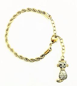 Pulseira Cordão Baiano Ping Gato Zirconias Banho Ouro 1316