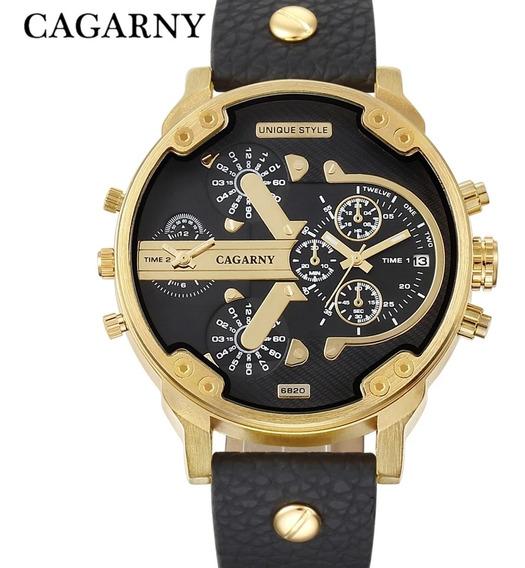 Relógio Top De Luxo Cargany Resistente A Água E Pulseira De