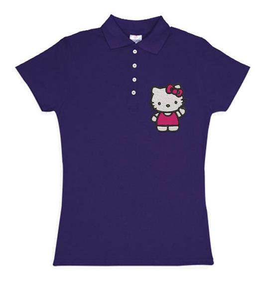 Playera Polo Hello Kitty Vestido Colores Bordada Opcion Personalizada