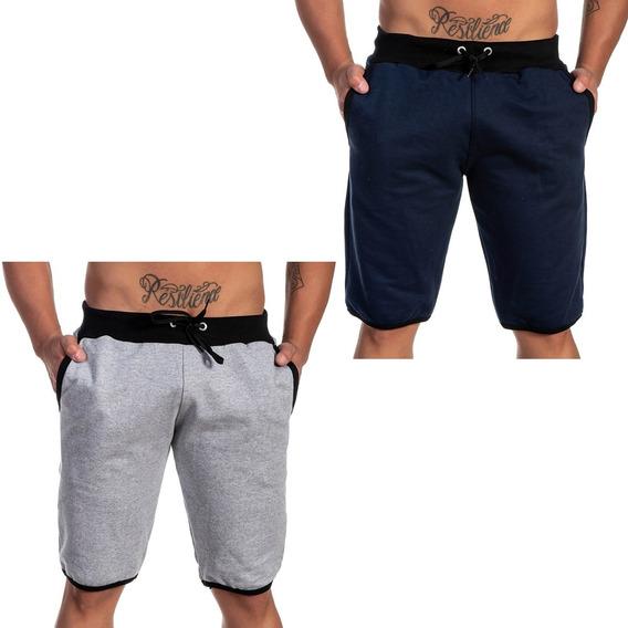 Shorts Masculino De Moletim Kit Com 2 Ideal Para O Verão