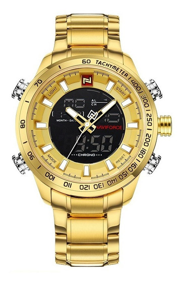 Relógio Masculino Dourado Digital Esportivo Naviforce 9093