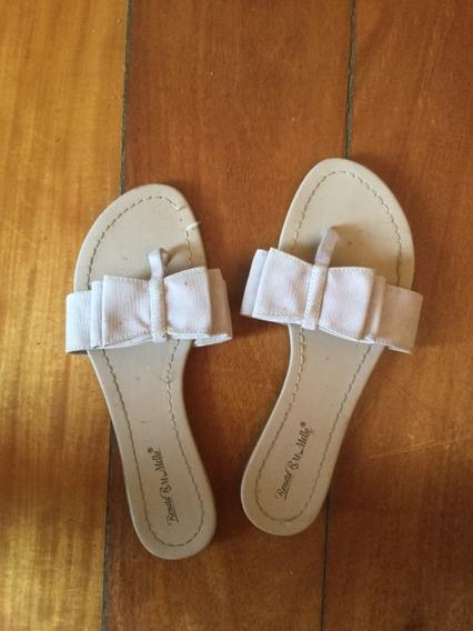 Sandália Rasteira Tipo Chinelo Laço Lilás Claro 37