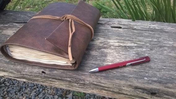 Sketchbook Antigo A5 Reutilizável Couro Folhas Envelhecidas