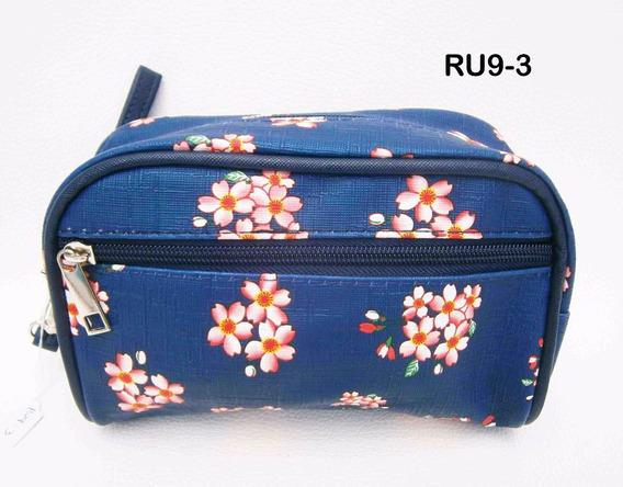 Neceser Azul Con Flores Ru9-3 Arpelli