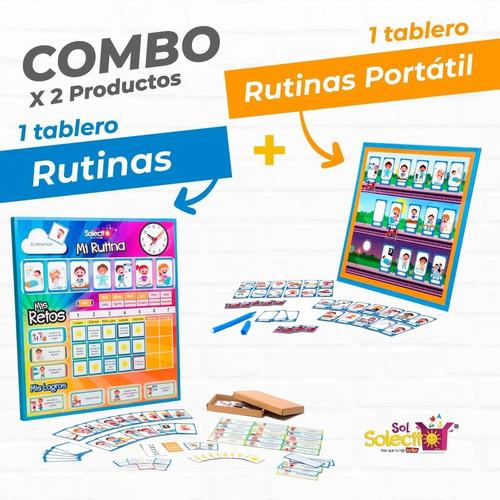 Combo Tablero De Rutinas + Tabla Portátil  De Rutinas Ms