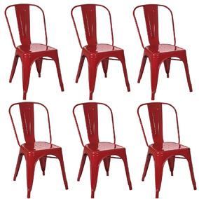 Kit 6 Cadeiras Tolix Vermelha
