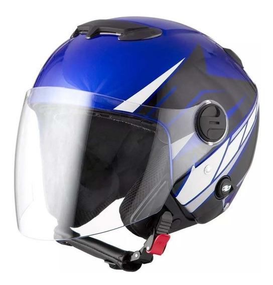 Capacete New Atomic Superbike Sb6 Azul E Preto Tamanho 56