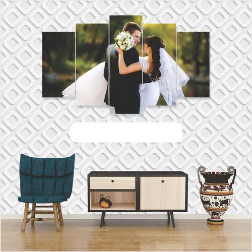 Imagem 1 de 4 de Quadro Personalizado Envie Sua Foto Mosaico 5 Peças Grande