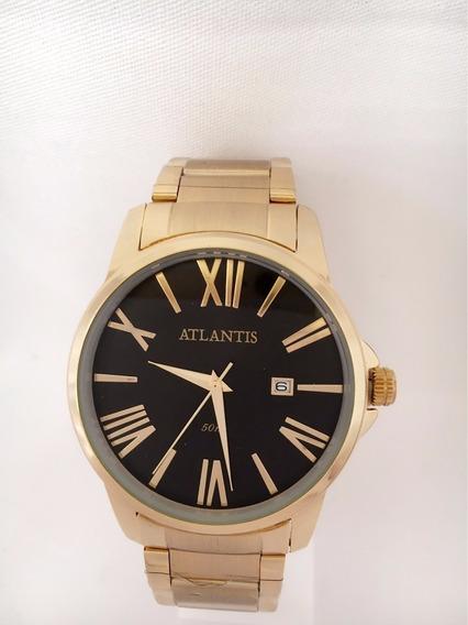 Relógio Masculino Dourado Marca Atlantis Original