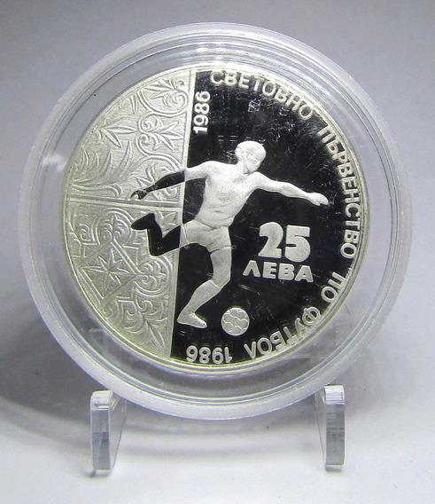 Bulgaria 25 Leva 1986 Plata Mundial Futbol Km 194 Proof