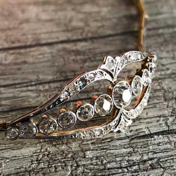 Pulseira Ouro Antiga Com Diamantes