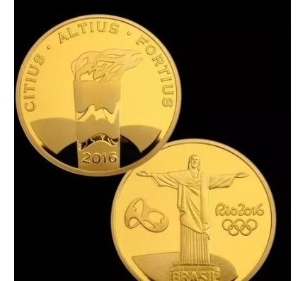Moeda Tocha Olímpica Olimpiadas Rio 2016 - Medalha