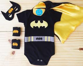 Body Batman Bebê Capa Máscara Bracelete Fantasia Mesversario