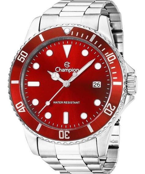 Relógio Champion Masculino Prata Vermelho Ca31266v Original