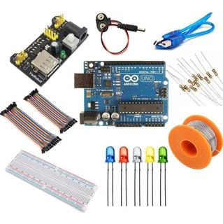 Kit Básico Arduino Uno Original Protoboard Cable Led Estaño