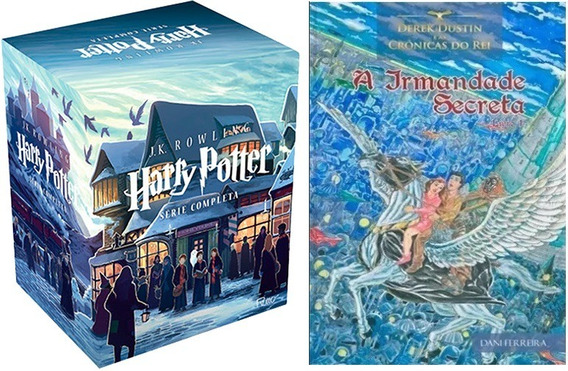 Box Com 7 Livros Harry Potter + Derek Dustin Crônicas Do Rei