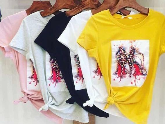 Blusa T Shirt Salto Alto Pedraria Importada Envio Imediato