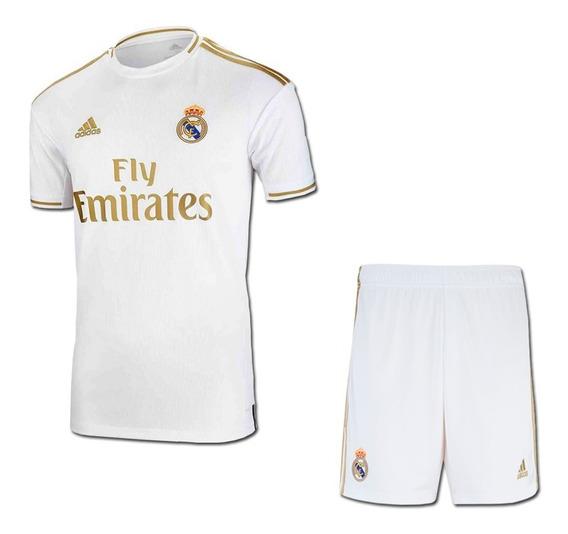 Conjunto Infantil Real Madrid Branco 2020 Menino Uniforme