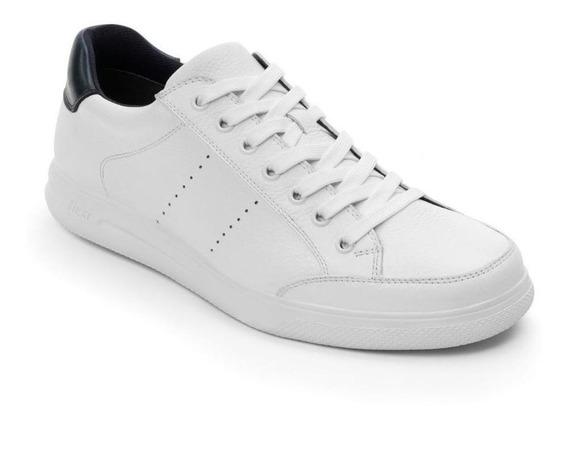 Calzado Hombre Caballero Tenis Flexi En Piel Blanco Comodo