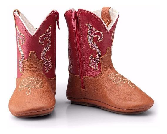 Bota Infantil Bebe Country Texana Couro Macia Capelli Boots
