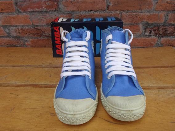 Tenis Bamba Fashion Basket Azul Anos 80 + Caixa Novo