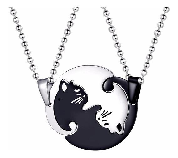 Collar De Pareja Yin Yang Gato Negro Acero Inoxidable