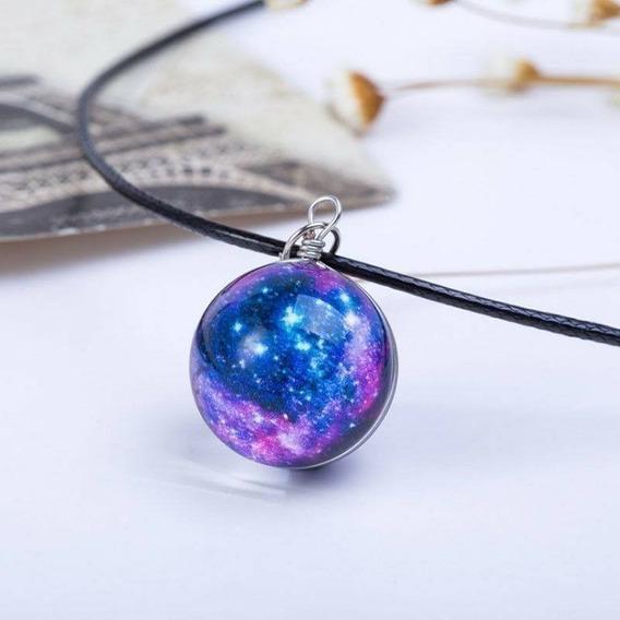 Collar Dije Con Diseño De Nebulosa O Galaxia Tipo Espejo