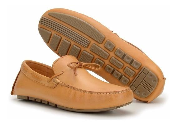 Sapato Mocassim Esporte Masculino Conforte 100% Couro Macio