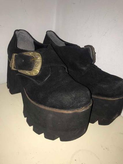 Zapatos Plataforma Gamuza Negros Invierno