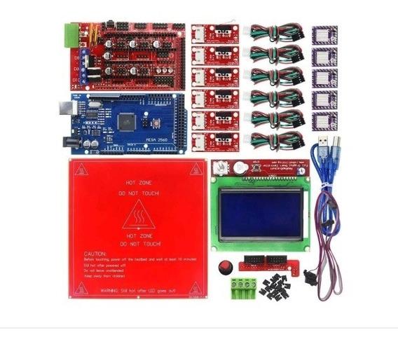 Kit De Impressora 3d Mega 2560 R3 + Ramps 1.4 Drv8825+ Mesa