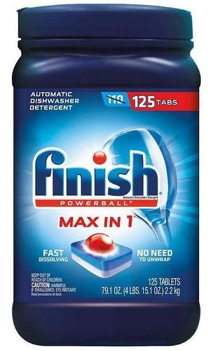 Finish Powerball Max Detergente Lavavajillas, 125 Pastillas