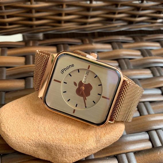 Relógio Feminino Lançamento Aple Rosê Pulseira Magnética