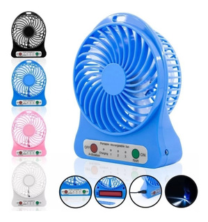 Mini Ventilador Portatil Recargable Usb Con Linterna Luz