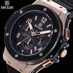 Megir 3002g Relógio Quartz Masculino Função Data - Preto Ban
