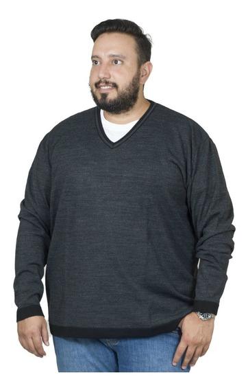 Malha Plus Size Bigshirts Gola V Listrado - Preto/cinza