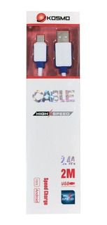 Cable Kosmo High Speed 2.1 Micro Usb 2m Metros Mallado