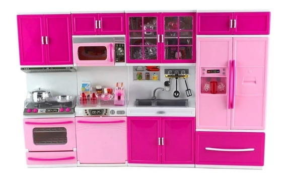 Kit Cozinha Infantil + Acessorios P/ Bonecas 4 Modulos