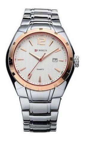 Relógio Masculino Prata Dourado Curren 8103